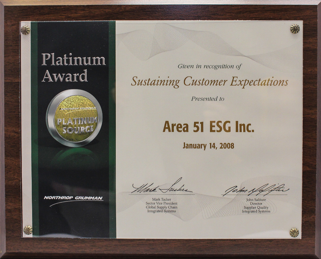 Northrop Grumman 2008 Platinum Level Platinum Source Award Quality and Delivery performance.jpg