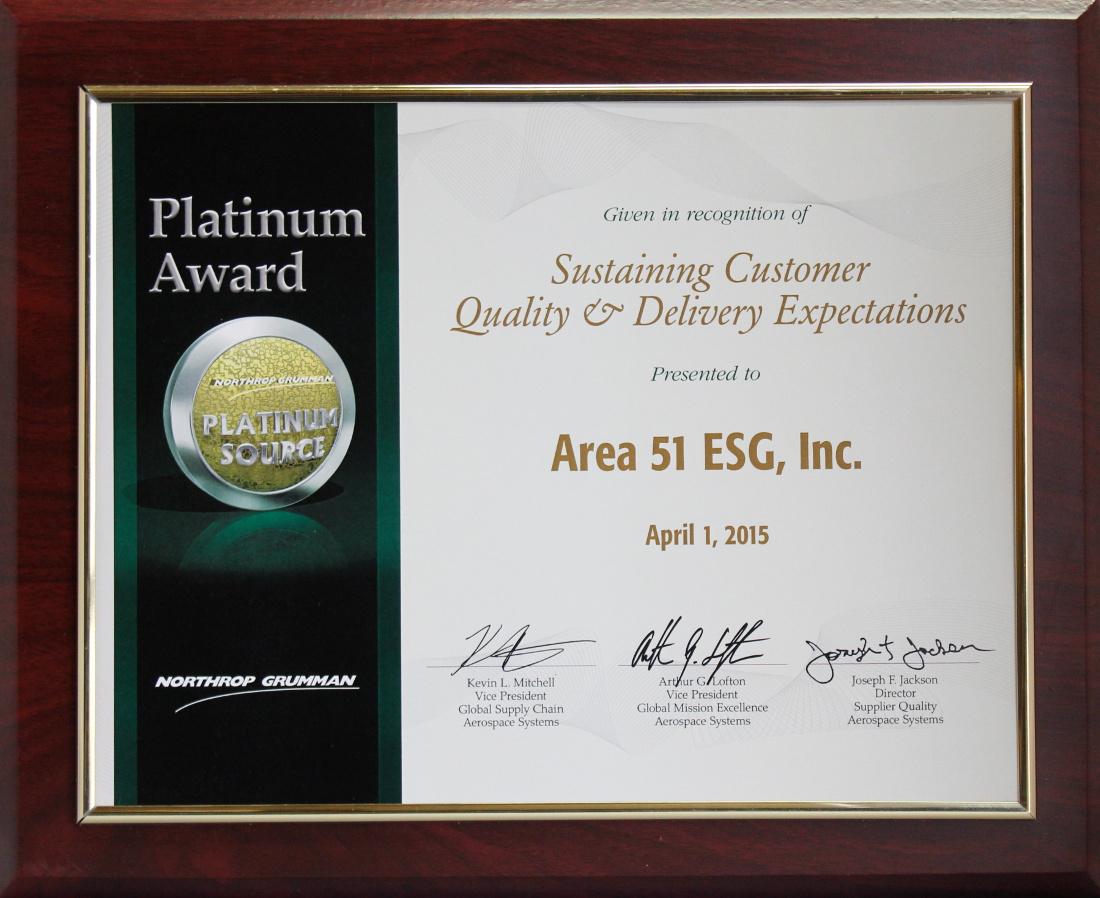 Northrop Grumman 2015 Platinum Level - Platinum Source Award