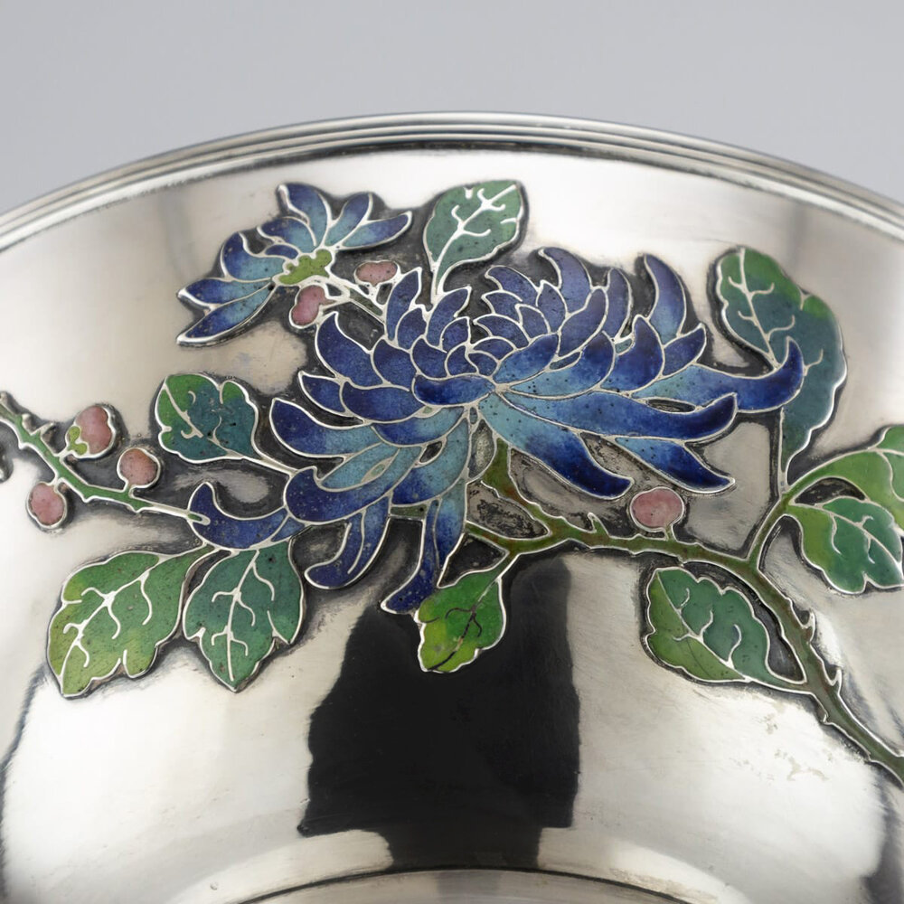 Silver bowl with enamel flowers at base