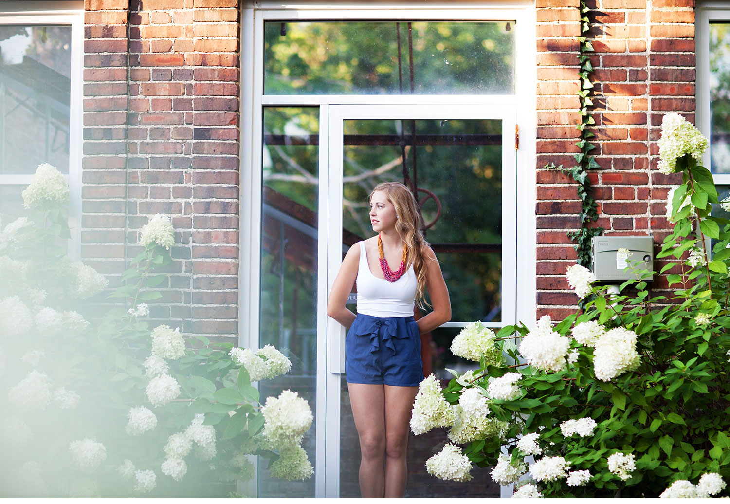 You've Got Flair | Clare's Garden Summer Senior Session, Clare Against Hydrangeas & Greenhouse, Senior  2015