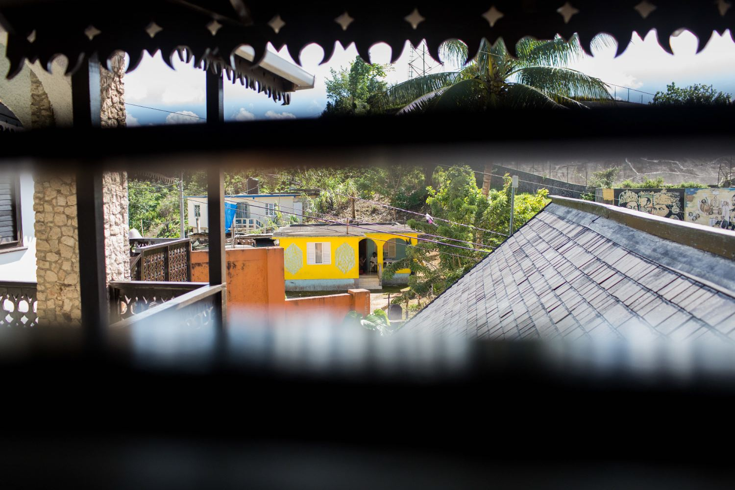 """Shot through the blinds, a house outside of the Marley """"tourist"""" complex."""