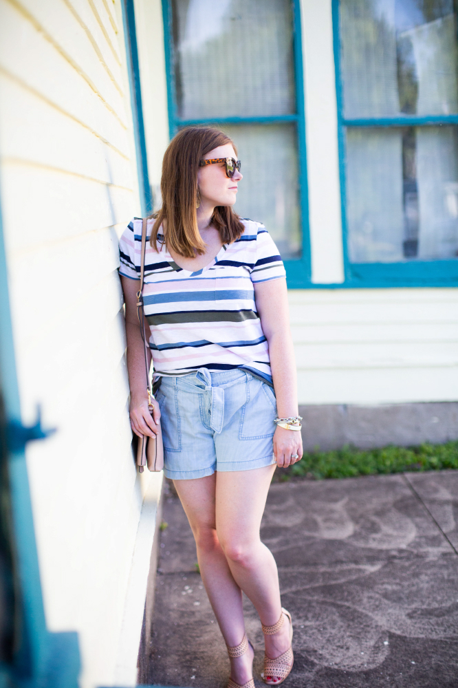 Striped Tee and Chambray Utility Shorts by Styled in Blue