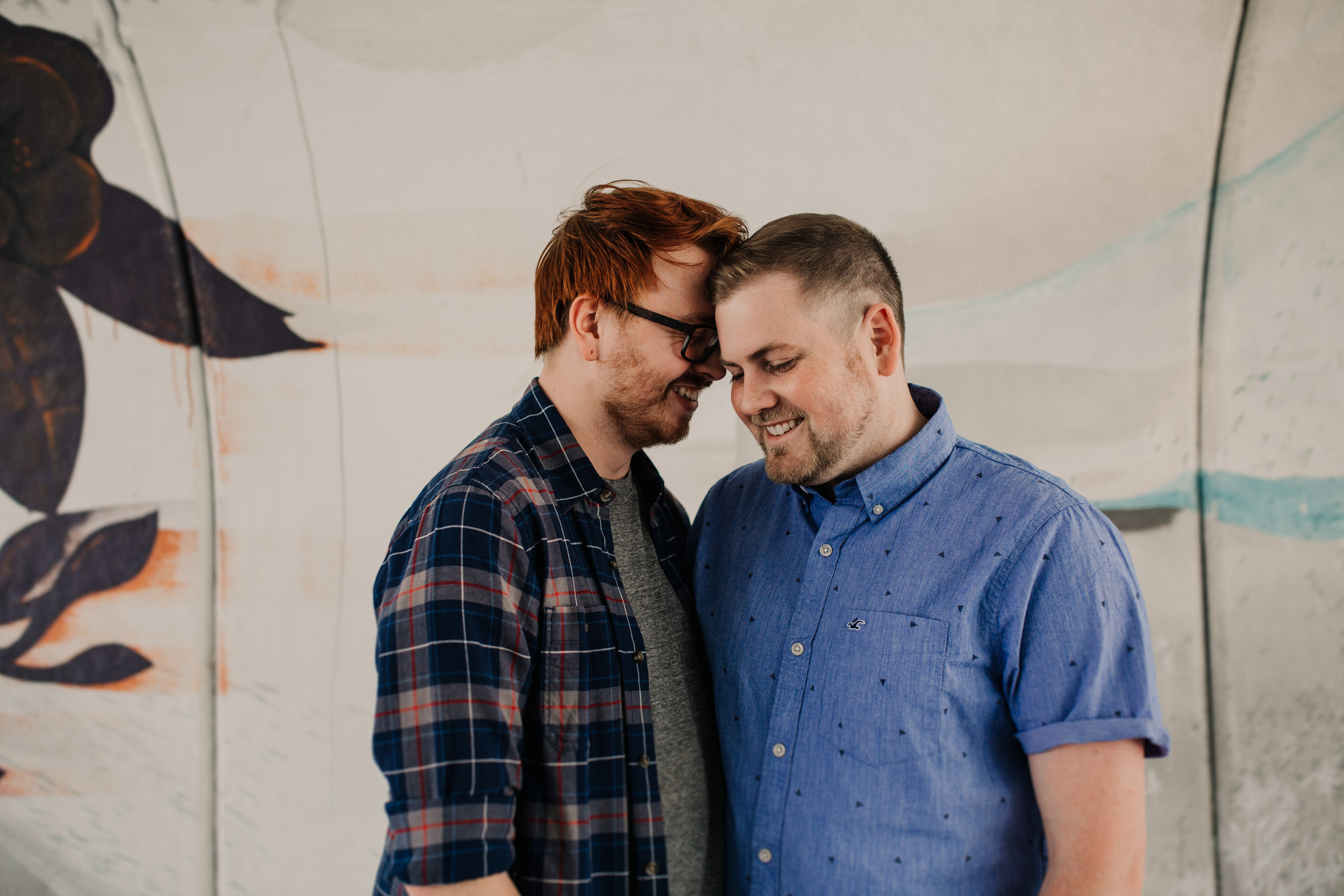 Engagement portrait of same sex couple in West Virginia.