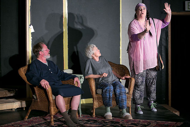 Colter Langan, as Vanya, from left, Dee Dee Van Zyl, as Sonia, and Kari Doll, as Cassandra, rehearse a scene of Vanya and Sonia and Masha and Spike on Monday, Feb. 2, at the Verge Theater in Bozeman. The play, directed by Gordon Carpenter, opens on Friday, Feb. 6.