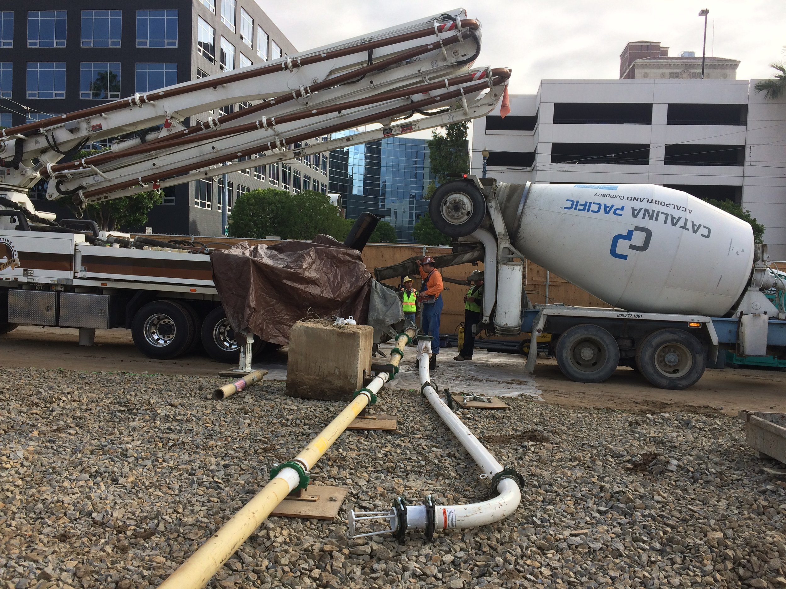 Pumping concrete into Lincoln Garage footings