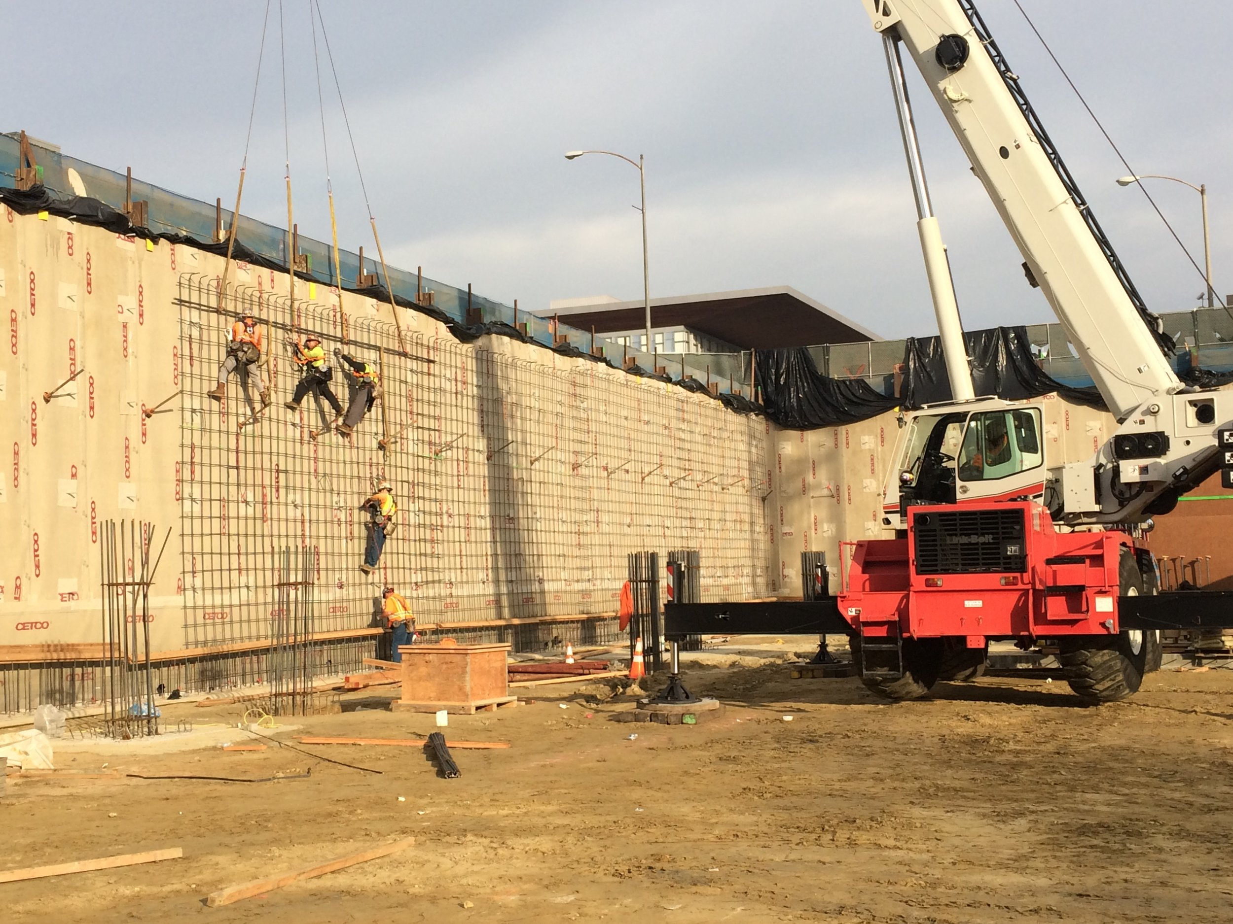 reinforcing walls for the new below grade parking
