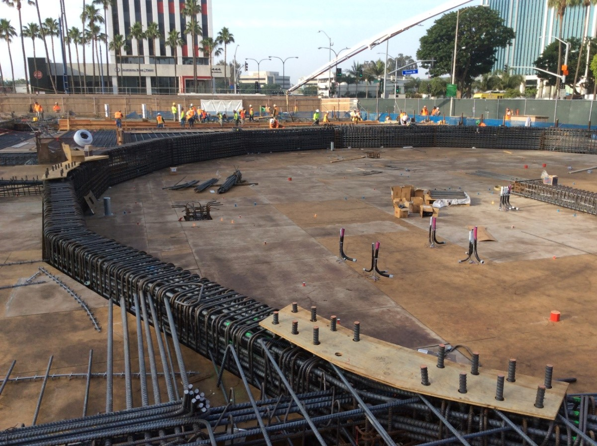 Rebar in foundation for future council chambers