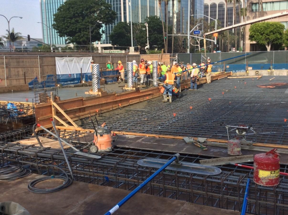 First plaza level concrete pour