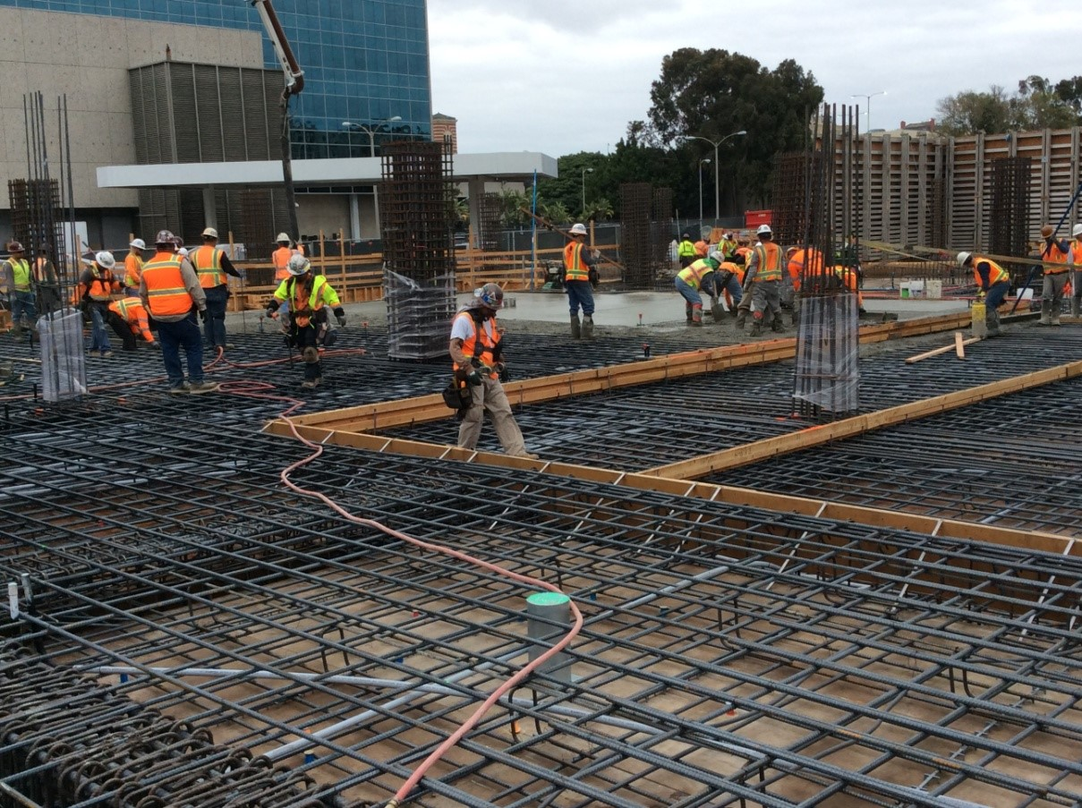 Setting rebar on plaza level