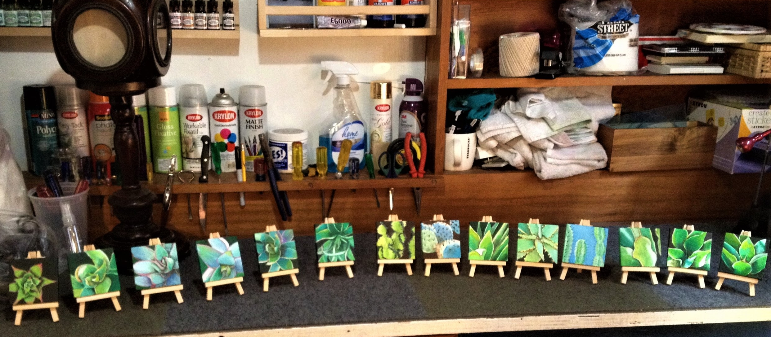 TINY PAINTINGS ON TINY EASELS - AT The Vault, Museum Store, Palm Springs Art Museum