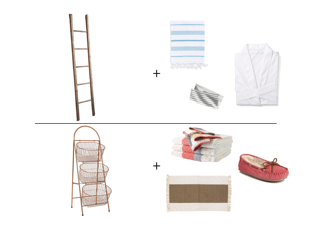 Product sources top:   Wooden Blanket Ladder     ||     Fun in the Sun Pestemal    ||    Fouta Washcloths    ||     Embroidered Robe       Product sources bottom:   Ladder Storage Basket    ||     Sechura Towels    ||    Minnetonka Cally Slipper    ||     Broad Stripe Dhurrie