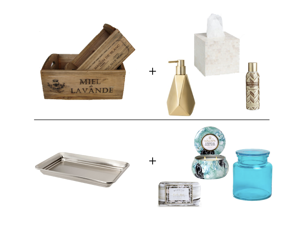 Product sources top:   Vintage Wooden Crate    ||     Faceted Soap Dispenser    ||     Mother-of-Pearl Tissue Box    ||    Room Spray    Product sources bottom:   Brushed Nickel Bathroom Tray    ||     Tonka Noir Triple Milled Bar Soap    ||    Voluspa Linden & Dark Moss Candle    ||    Turquoise Lid Jar