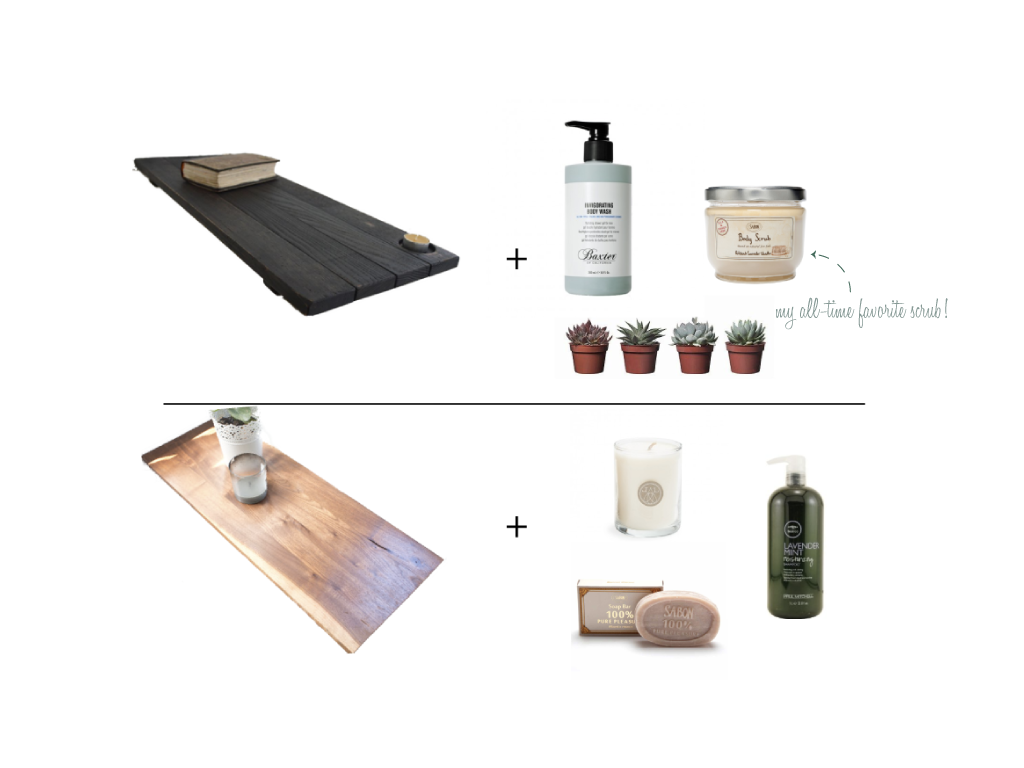 Product sources top;   Reclaimed Wood Tub Caddy    ||    I nvigorating Body Wash    ||    Patchouli Lavender Vanilla Body Scrub        Product sources bottom:   Rustic Wood Bathtub Tray    ||     Linnea's Lights Lavender Votive Candle    ||    Lavender Mint Moisturizing Shampoo     ||     Palm Oil  Soap