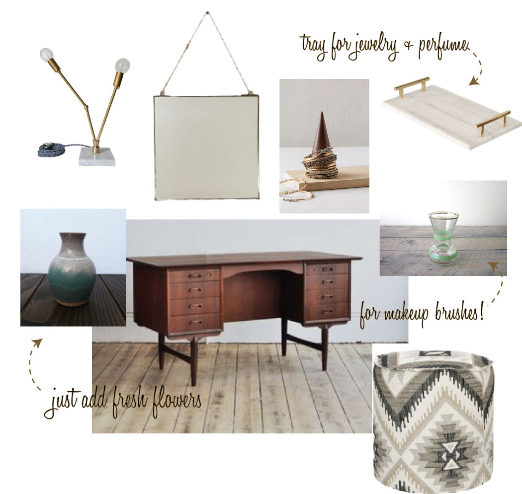 Sources from Top Left Clockwise:   Brass & White Marble Lamp    ||    Admiral Hanging Mirror    ||    Magical Thinking Pyramid Bracelet Holder    ||    Small Green and Gold Hand Painted Glass Vase    ||    Winter Storm Ottoman    ||    Danish Teak Desk    ||      Vintage Pastel Pottery Vase