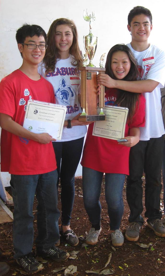 state winners, the 4-H Dirt Devils:  Corin Nishimoto, Kiarra Burkitt, Kaitlyn Yamada, and Brian Lavongtheung. Their advisor, Daryl Yamada, is not pictured.