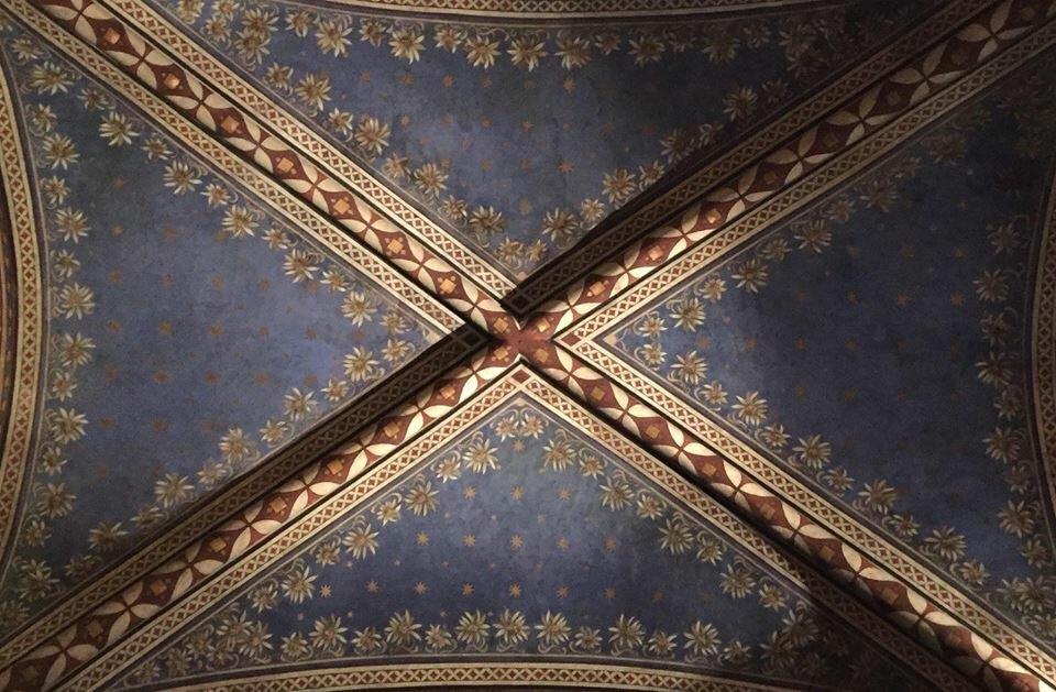 Hand painted plaster Venetian ceiling.