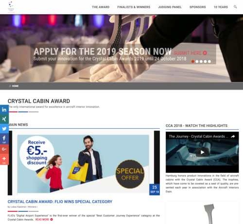 """Crystal Cabin Award: - """"German startup FLIO has won the very first Crystal Cabin Award in the special"""