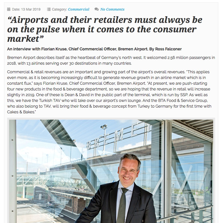 """Airport Business: - """"Digital innovation is central to the airport's commercial & retail strategy. In 2017, Bremen Airport chose to integrate with FLIO, instead of developing its own standalone app. It became the first airport to make all of its services available via the FLIO app, with the ability to book parking, fast lane security and lounge access, receive discounts at airport stores and restaurants, and get live flight information""""."""