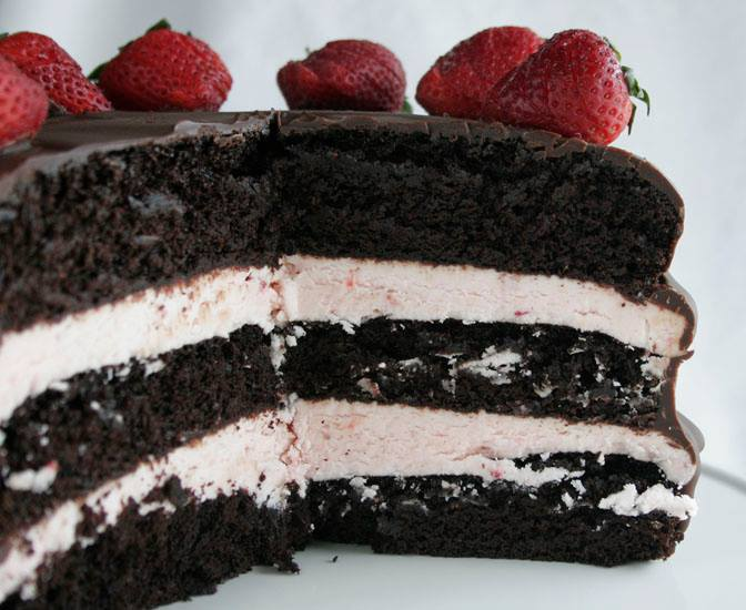 dark chocolate cake with strawberry buttercream