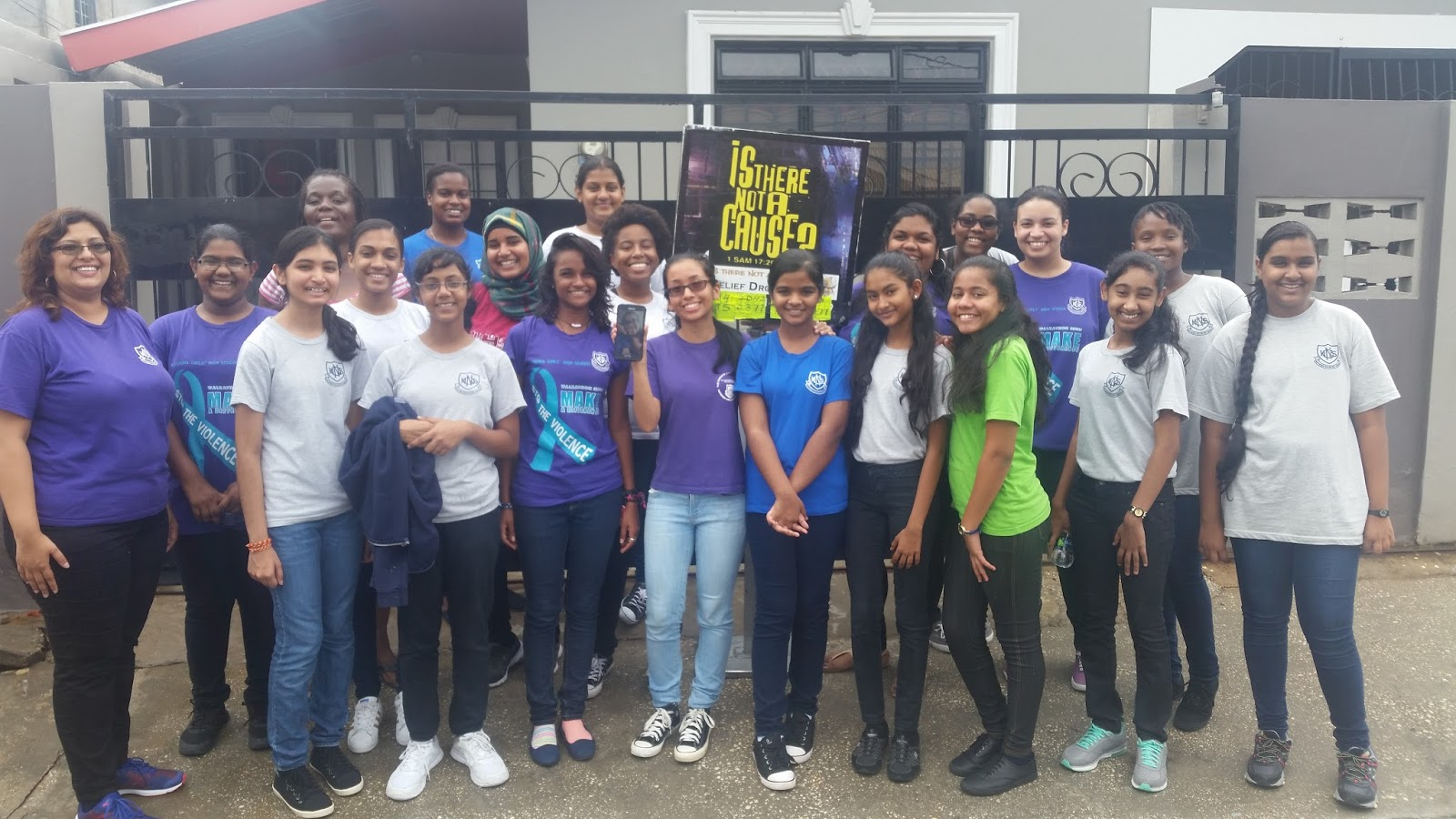 Students of Naparima Girls High School who gave up their Saturday to help sorting and packing relief supplies