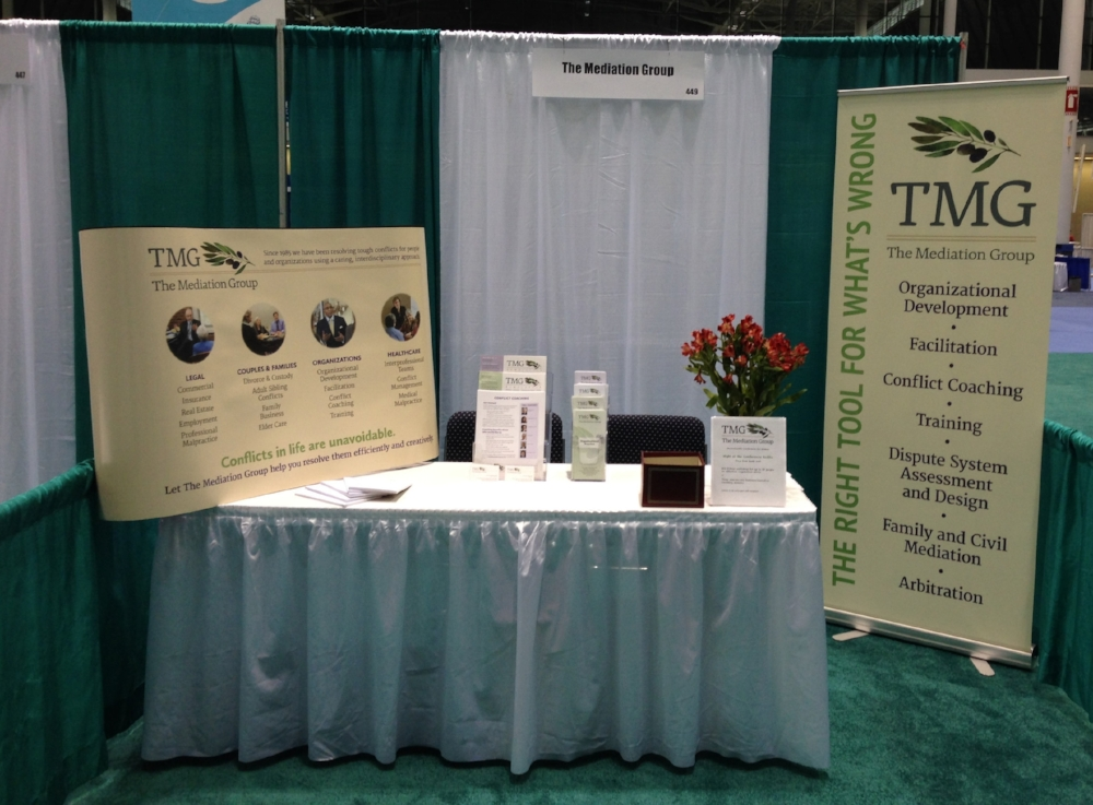 All set up and ready to go! TMG's booth at the the event.