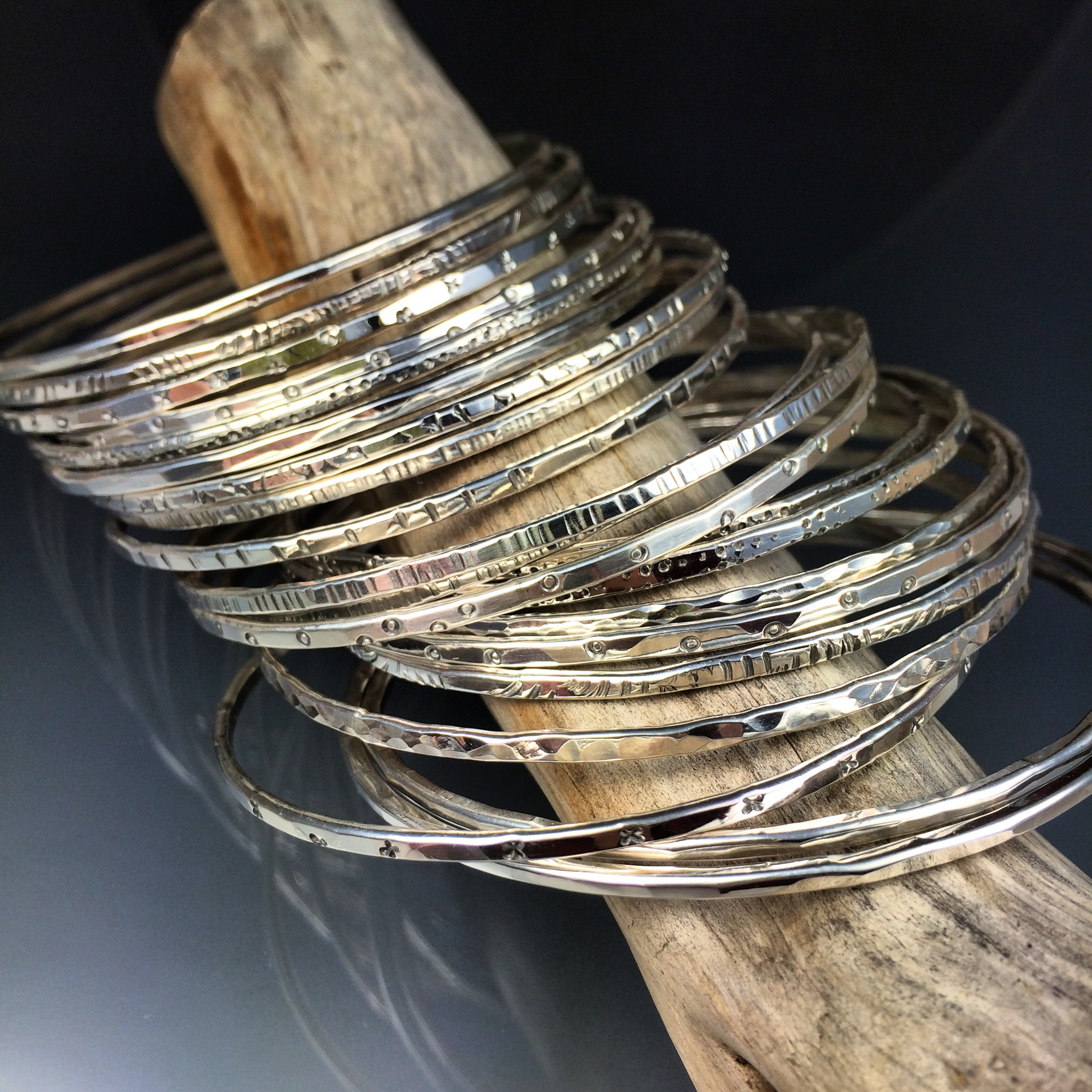 This 3 day workshop is $800. All materials are included (enough silver sheet and tubing to cap and core 4 beads and enough silver wire to make 3 bangles).  We supply lunch, plenty of drinks and snacks as well.  A $400 deposit is required to hold your spot in class. The balance is due a month before the workshop.  Cancellation Policy:  10% of fee is considered non-refundable in cases of withdrawal for all students up to 30 days of the workshop.  Course fee is non-refundable within 30 days of the workshop unless I am able to fill the student's spot, in which case #1 above still applies.    Classes are limited to 6 students.