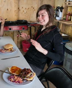 Whether it's Papa Bravo Burgers©or other presenters at a conference, Isabeau is gonna eat them for dinner!