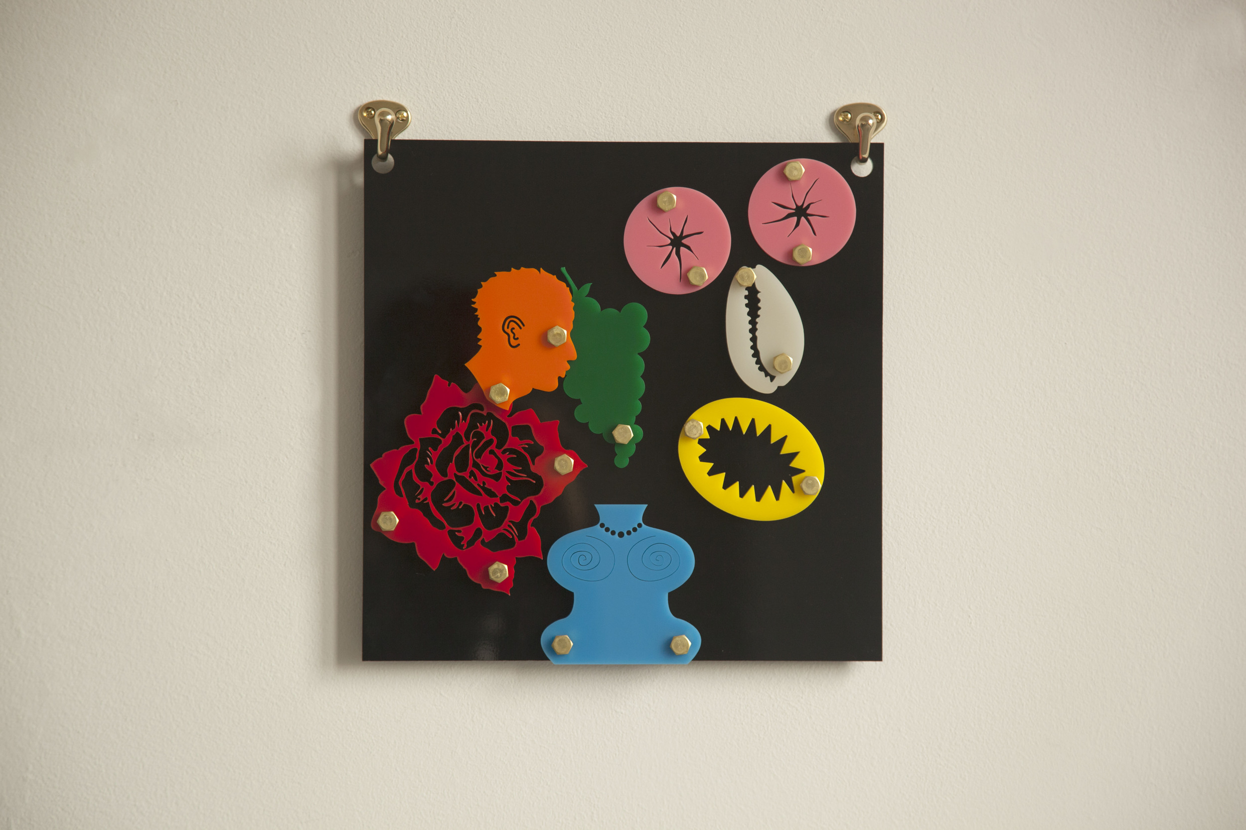 Googly (Blackamoors Collage 2), 2014 Plexiglass and brass 12 x 12 inches
