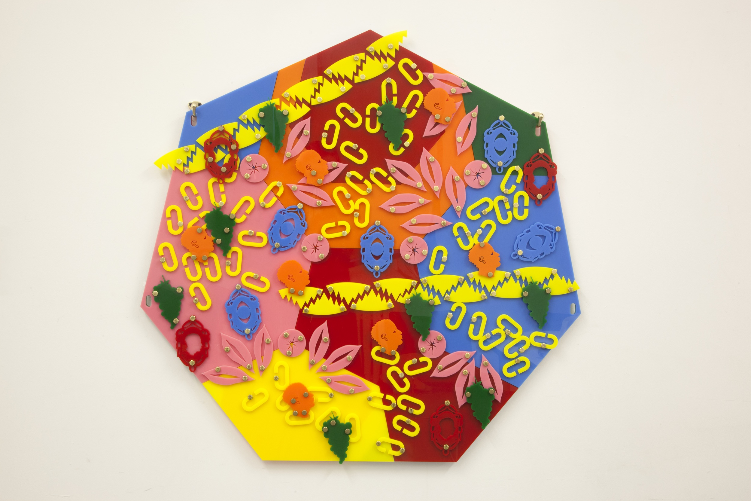 Scatter Plot  (Blackamoors Collage 13), 2014  Plexiglass and Brass  38.2 x 39.0 inches