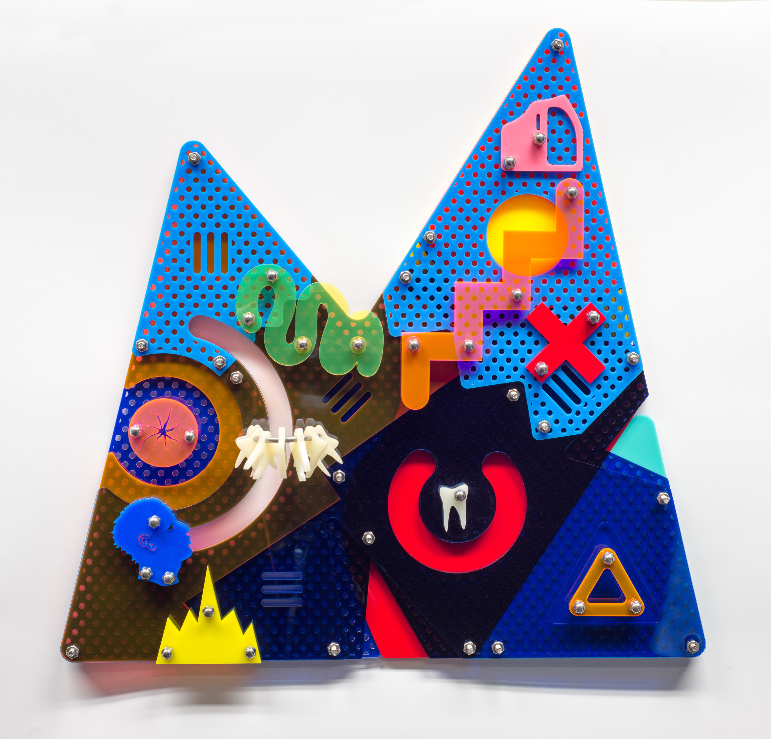 Two Peaks (Blackamoors Collage #62), 2017 Plexiglass and Stainless Steel 23.2 x 23.7 inches