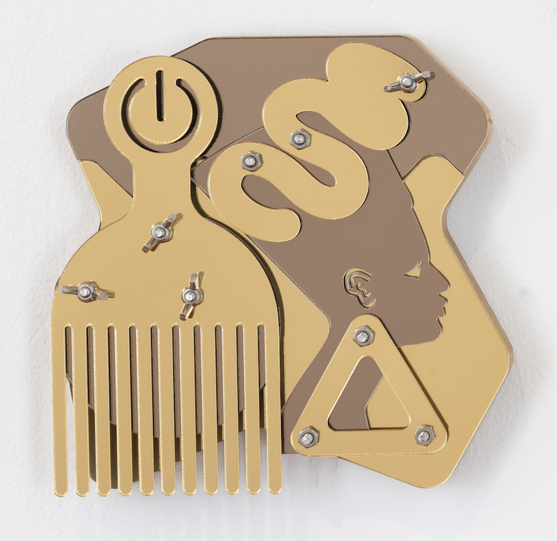 Fascination Blackamoors Collage #150, 2018, CNC routed Baltic birch, mirror and stainless steel hardware, 8_ x 8_ (1).jpg