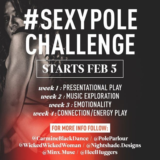 Starts tomorrow! Stay tuned, and follow @carmineblackdance and all the @sexypolechallenge babes (@wickedwickedwoman @nightshade.designs @minx.muse @heelhuggers) for more direction and inspiration! 🔥🖤✨ #dancesexy #findyoursexy #pdsexy #bringingsexyback #sexyneverleft