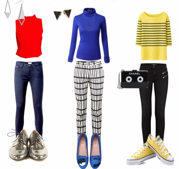 Jeans outfits for the Bright Winter Pixie Image Archetype