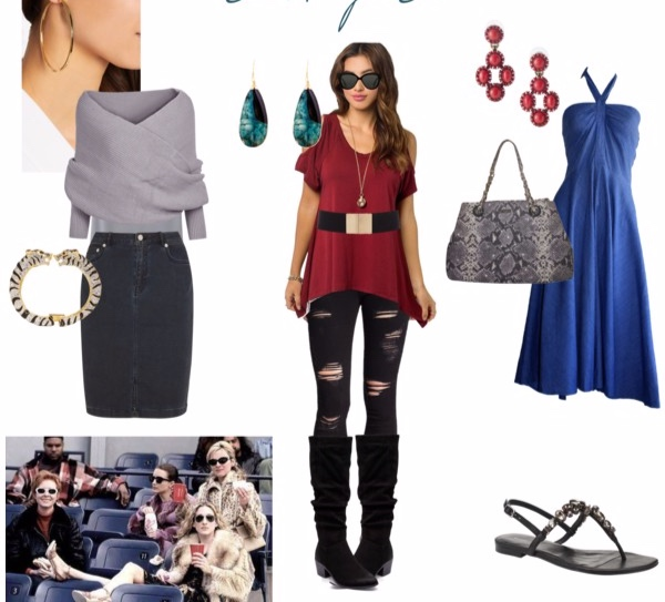 Outfits for a day at the ballpark in the Dark Winter color palette for the Goddess Image Archetype