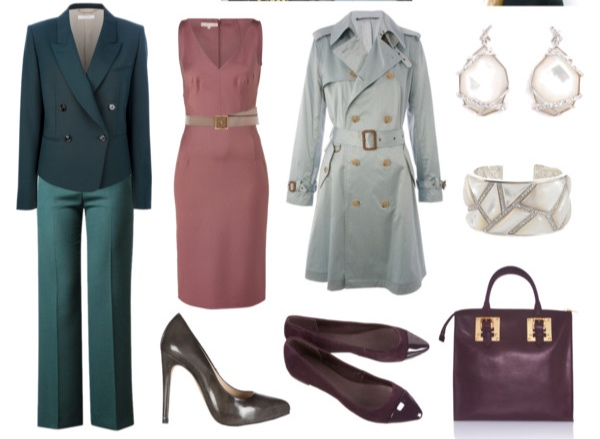 Miscellaneous outfits in Soft Summer colors for the Sophisticate Image Archetype.