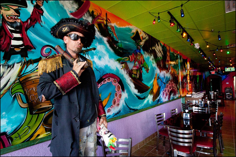Jeff Riggan, artist/muralist. Location - Tijuana Flats, Orlando.