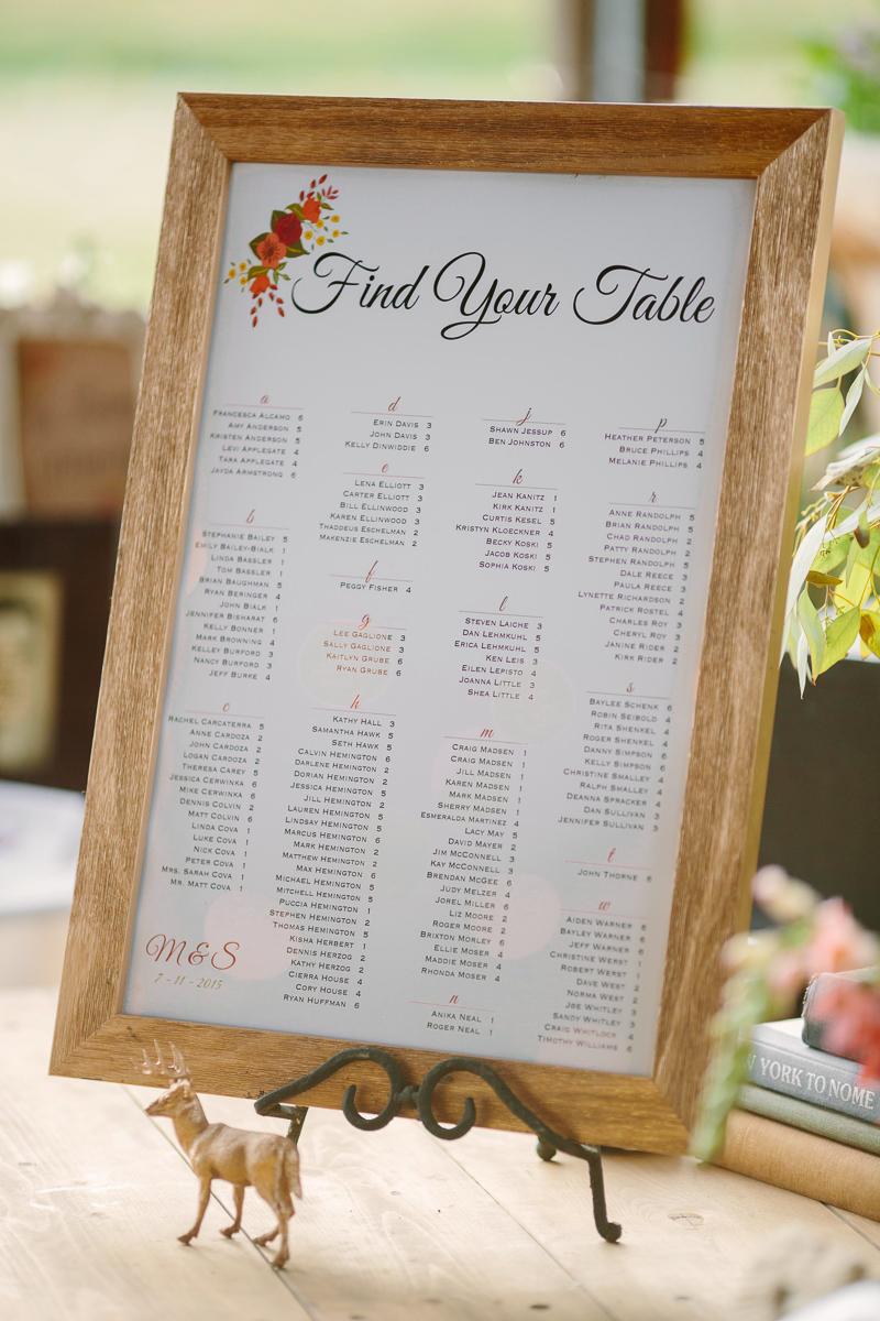Aspen wedding seating chart