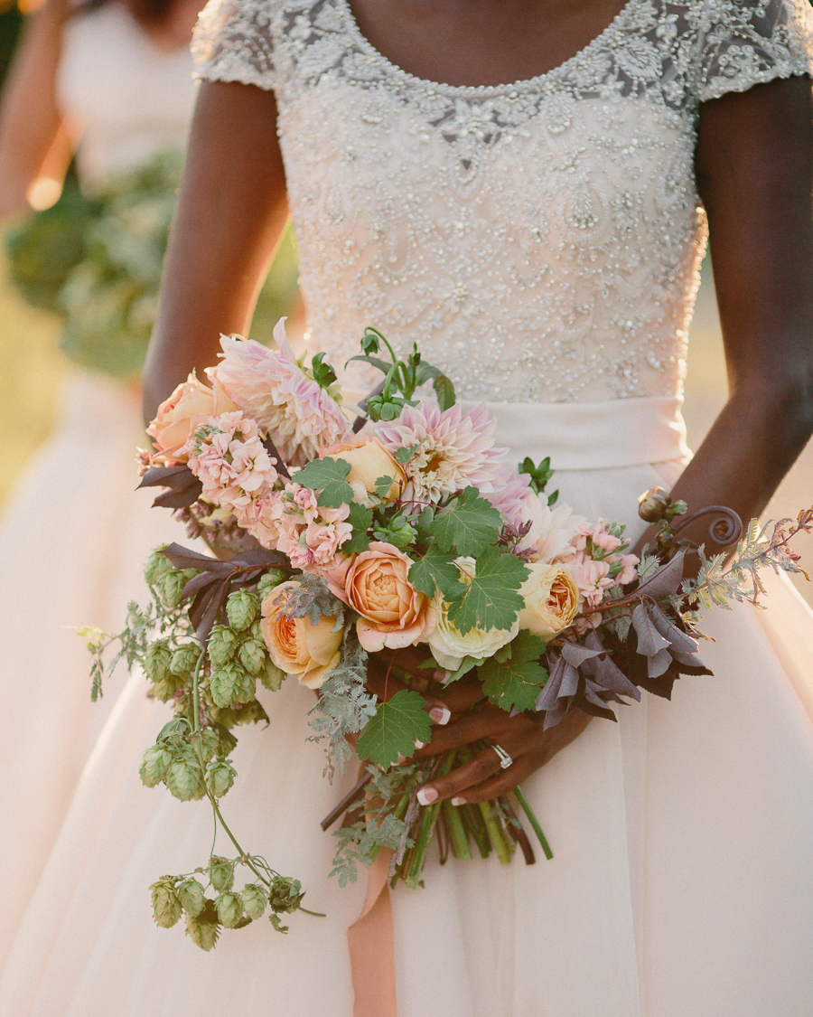 Bridal bouquet with beer hops by 3 Leaf Floral / Photo: Cat Mayer Studio