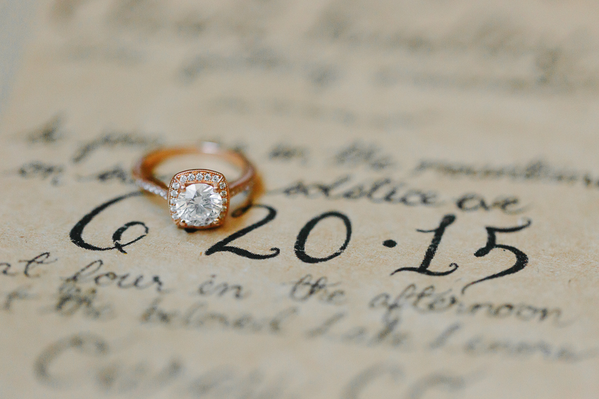 vintage rings on hand written vintage paper