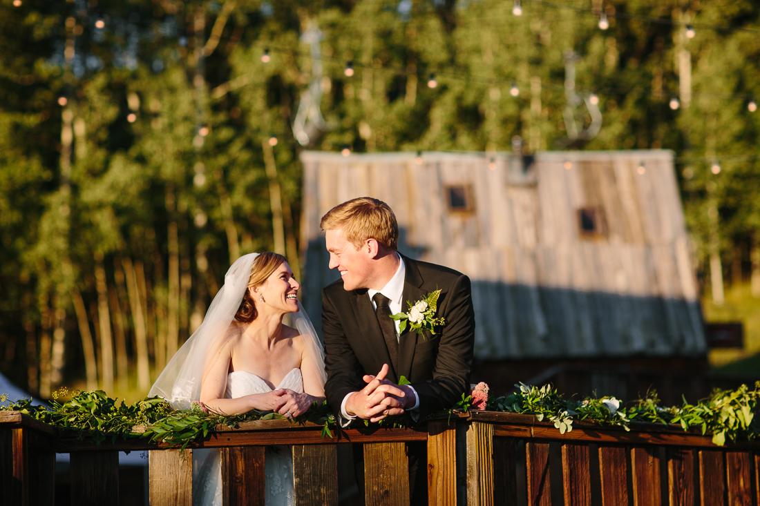 wedding couple at Gorrono Ranch, Telluride