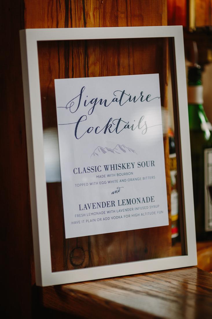 Signature Cocktail sign at Telluride wedding