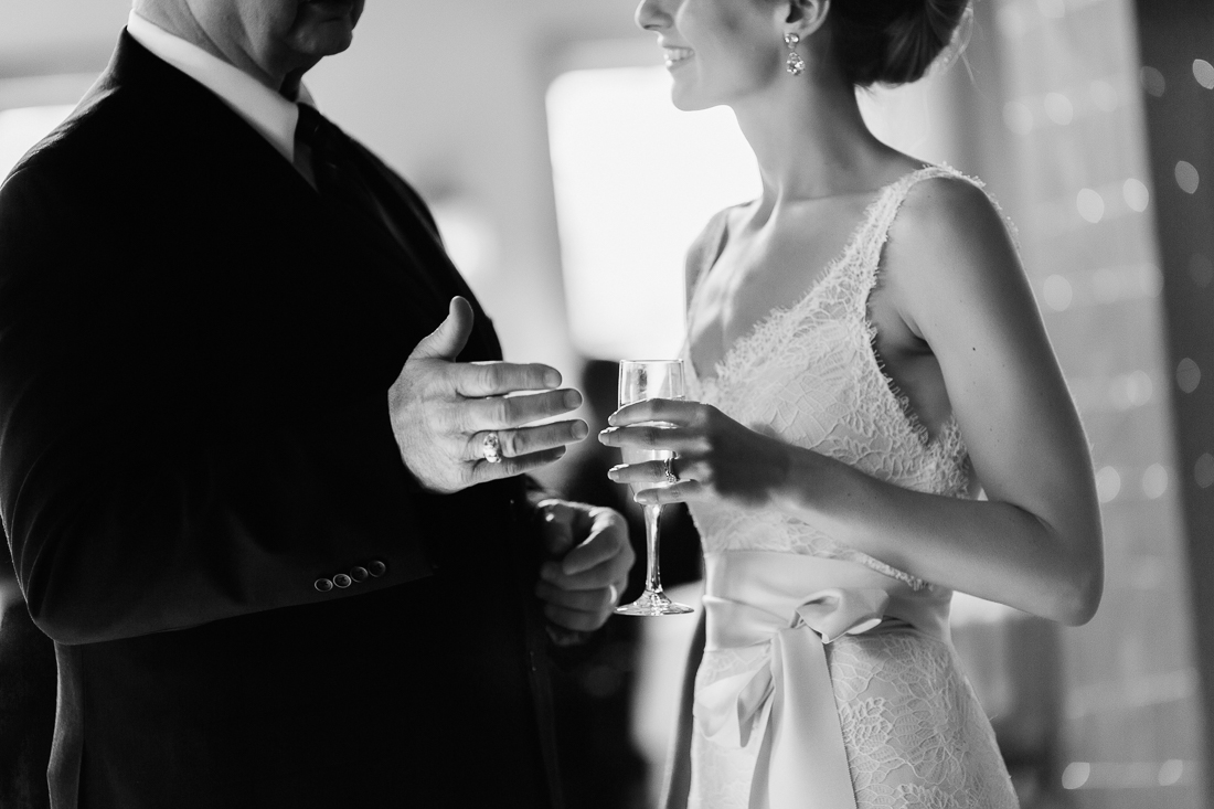 Bride talking with her father
