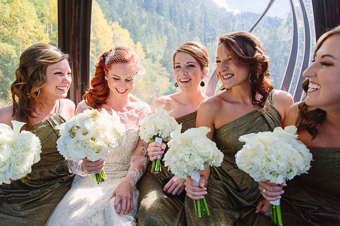 Kristina & her bridesmaids on the Aspen gondola