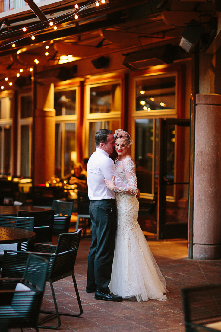 Wedding couple at The Little Nell, Aspen