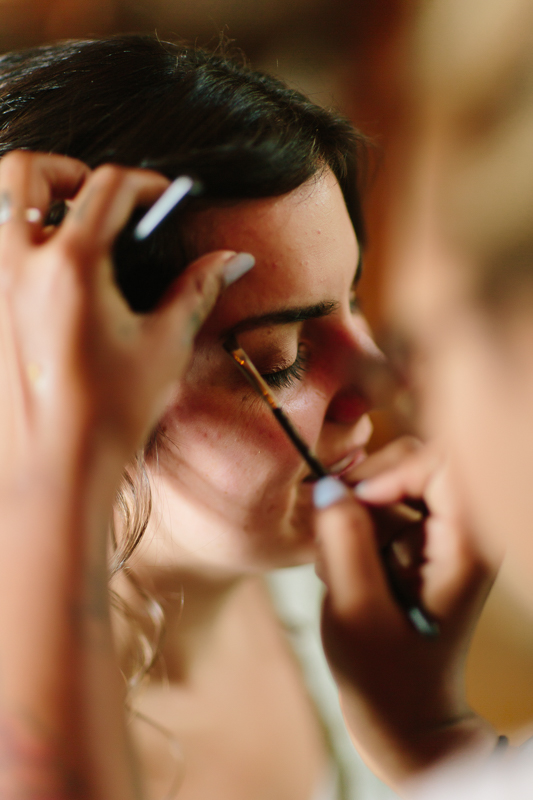 Bride getting makeup | Artist Brittany Slaughter | Telluride Alta Lakes Wedding | Cat Mayer Studio