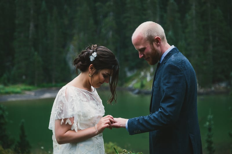 Couple exchanging wedding rings | Telluride wedding at Alta Lakes | Cat Mayer Studio