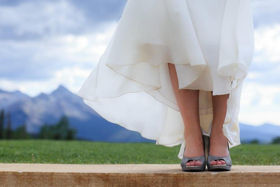 Bride's shoes at San Sophia | Telluride Wedding | Photographer www.catmayerstudio.com