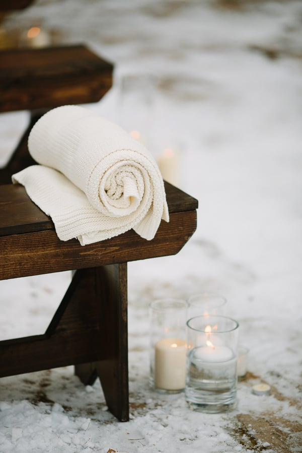 Blankets, candles and benches for winter wedding | Stonewood Vintage | Park Hyatt Beaver Creek Wedding | www.catmayerstudio.com