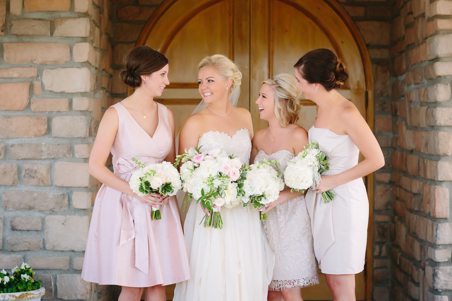 Pastel pink bridesmaid dresses | Flower bouquets by 3 Leaf Floral | Two Rivers Winery Wedding | Photography by Cat Mayer Studio | www.catmayerstudio.com