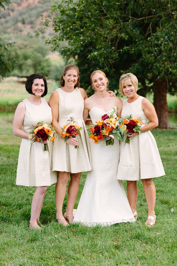 Neutral bridesmaid dresses with marsala wedding bouquets | 3 Leaf Floral Aspen wedding flowers | Photographer: Cat Mayer Studio www.catmayerstudio.com